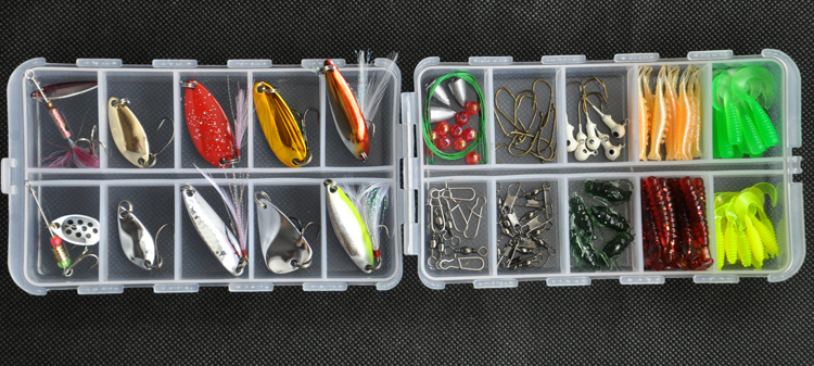 Free shipping 105 pieces Portable suit freshwater lures  bait Lure Fishing Lure bait suit fishing tackle