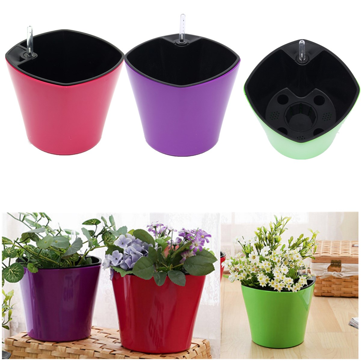 office flower pots. aliexpresscom buy automatic self watering drip plant pot system holder garden office home flower pots planter household greening crafts from