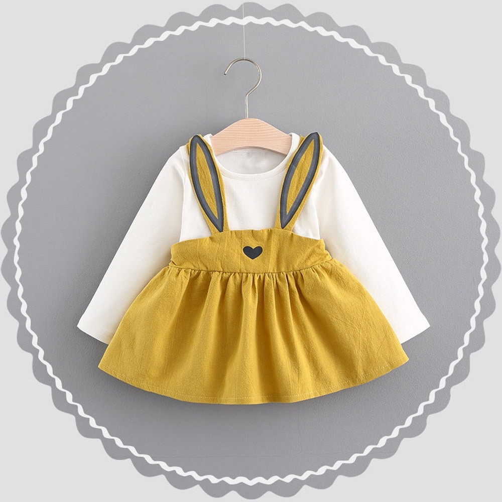 0 3 Years Old Autumn Baby Kids Toddler Girl Cute Rabbit Bandage Suit Mini Dress pushgoods in Dresses from Mother Kids