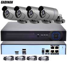 GADINAN H.265 4CH 48V POE NVR CCTV IP System 4PCS 4MP 25FPS POE IP Camera Waterproof Outdoor Video Security Surveillance Kit