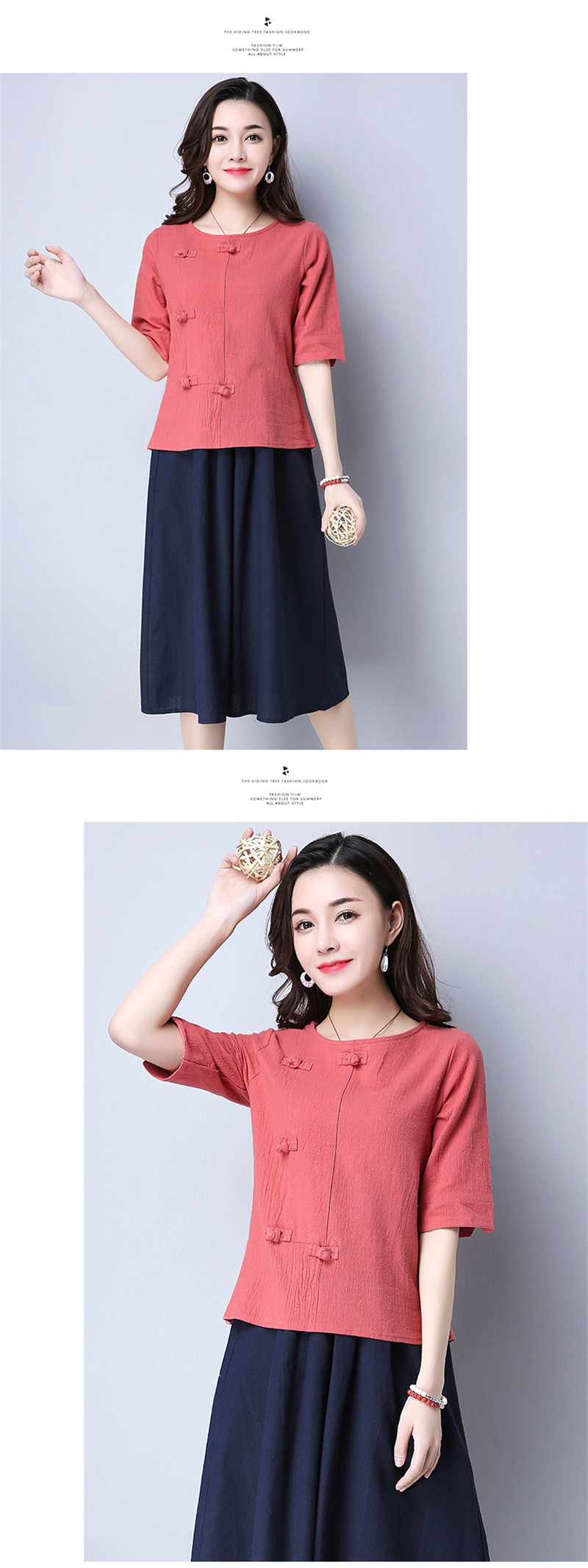 Cotton 2018 Summer Half Sleeve Loose Lady Vintage Women Shirt O Neck Chinese Style Linen T-Shirt Button 3XL 8