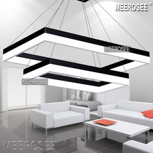 LED Pendant Light Modern Rectangle Black Suspension Fixture Silver Dining Room