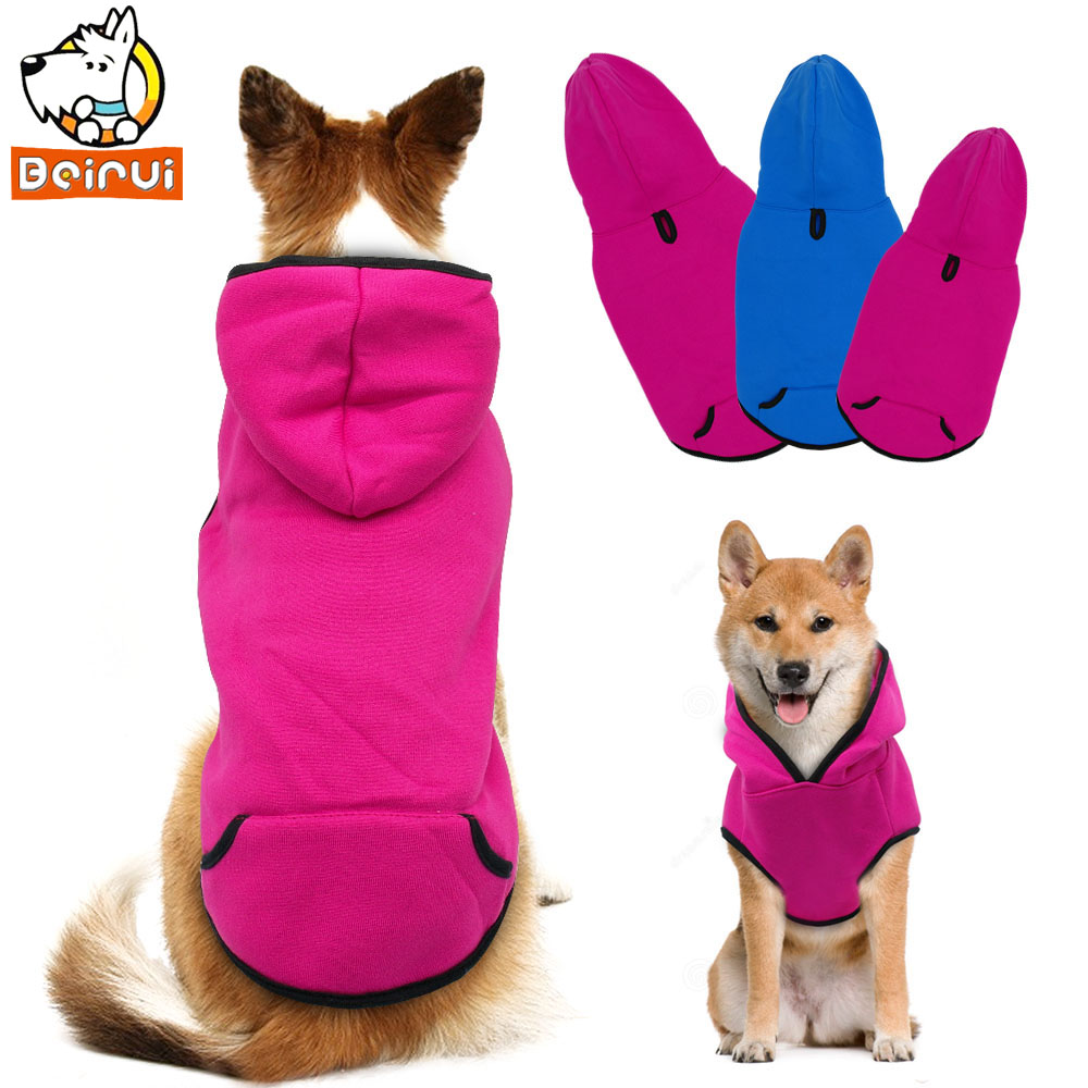 Winter Dogs Clothes Warm Cat Coats Jackets Meidum Large Dog Clothing Fashion Pet Hoodie Apparel for Pitbulls Akita Blue Rose