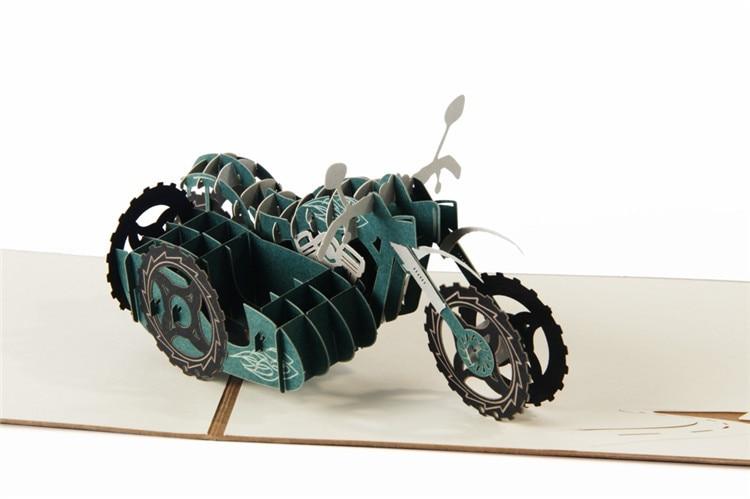 Ynaayu 1 Pcs 3d Retro Motorcycletree Kartu Ucapan Handmade Desain