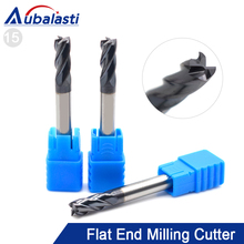 цены Aubalasti HRC45 4 Flutes Solid Carbide End Mill Milling Cutter CNC Router Bits Tools CNC Milling Cutter Bits for Metal Cutting
