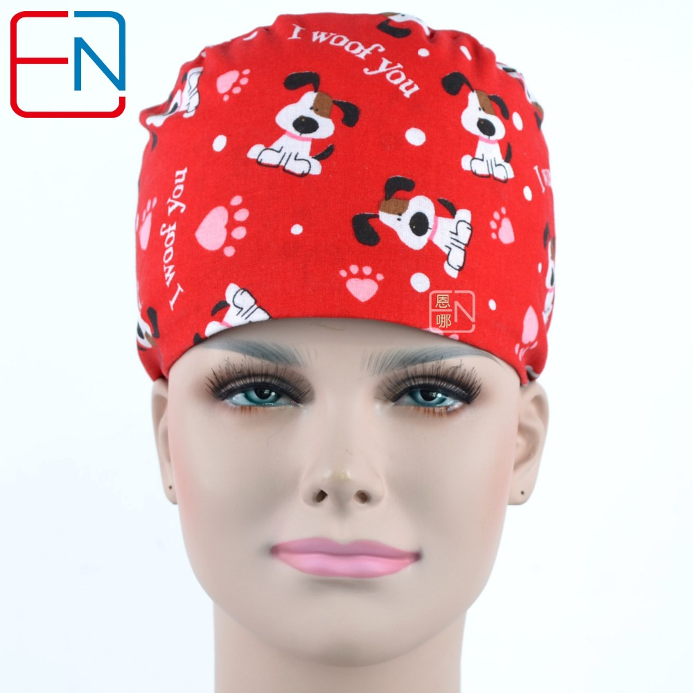 Surgical Caps In Blue With Doggie Pattern For Long Hair Women