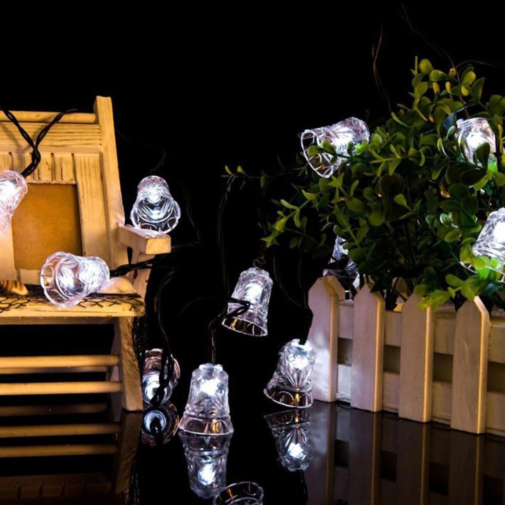20 LED Solar Powered Christmas String Lights Waterproof Outdoor Bells Fairy Lighitng Strings Garden Tree Bell Decor New Year