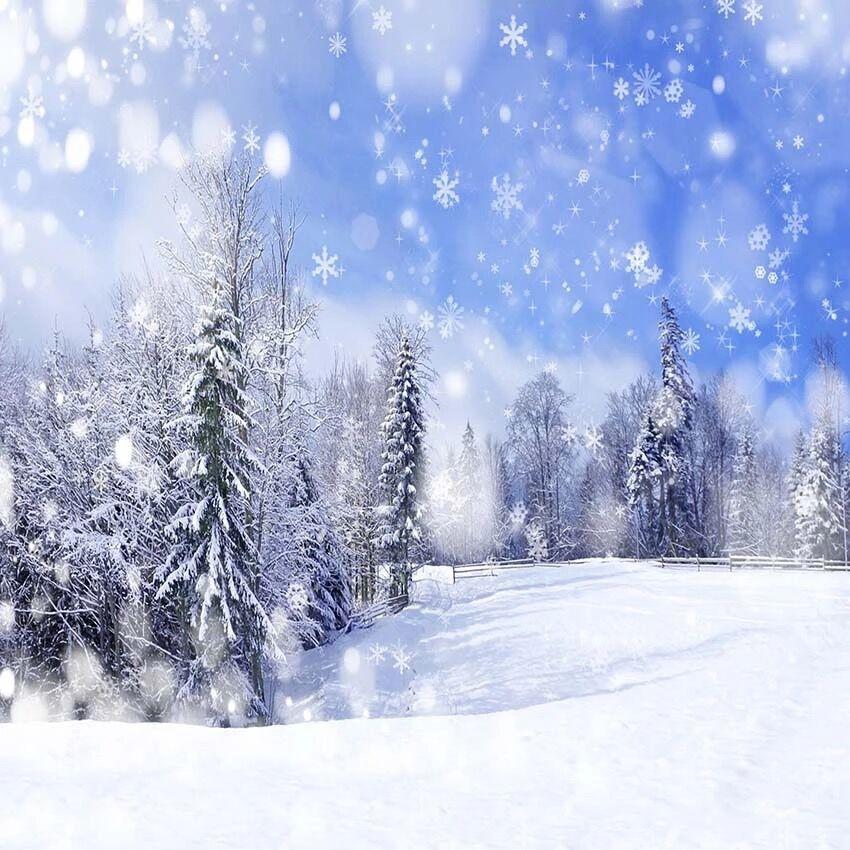 Blue Christmas Tree Wallpaper: Blue Sky Falling Snowflakes Photography Backdrop Snow