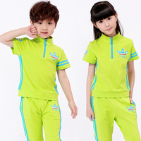 Children Boys School Uniforms Printing T Shirts Skirt Pants Girls Summer Camp Leisure Suit Gym Outfit