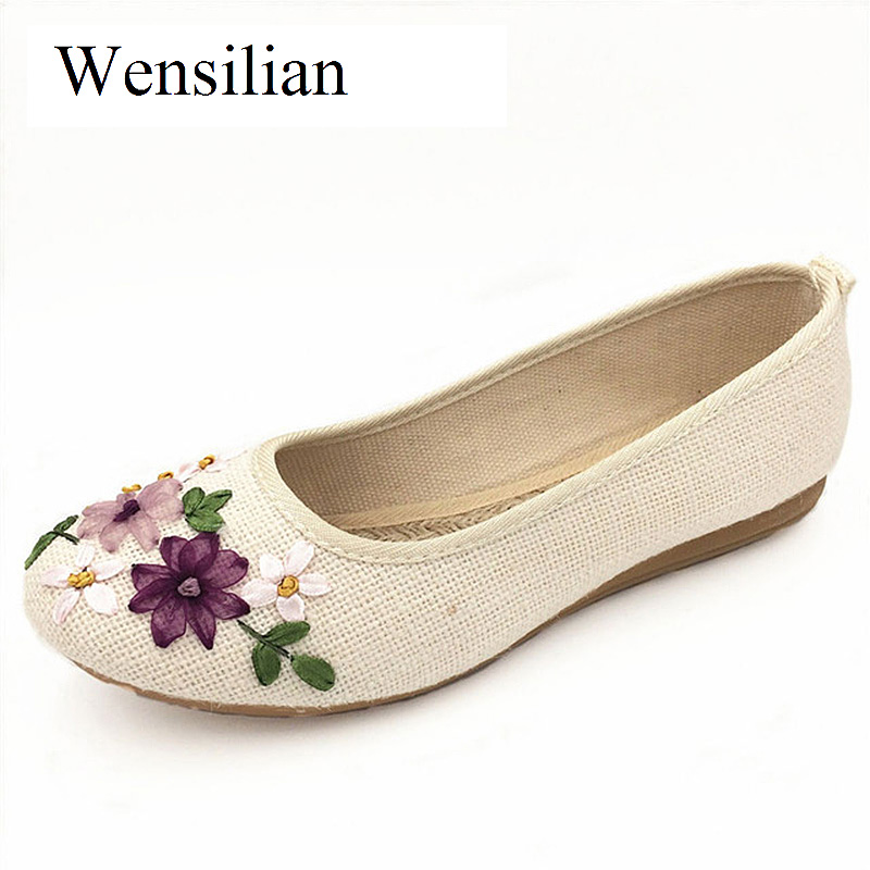 Summer Flat Shoes Women 2018 Slip On Loafers Women Hand Make Round Toe Flats Embroidery Canvas Shoes Casual Femme Chaussure