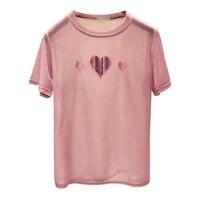 2018 heart printing bright silk t shirt women Korean summer prink tops o neck short sleeved loose t shirt polyester 254