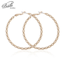 Badu Large Hoop Earring Oversize Circle Weaving Shape Women Fashion Jewelry Hollowing Round Earrings Gift for Girls Wholesale недорого