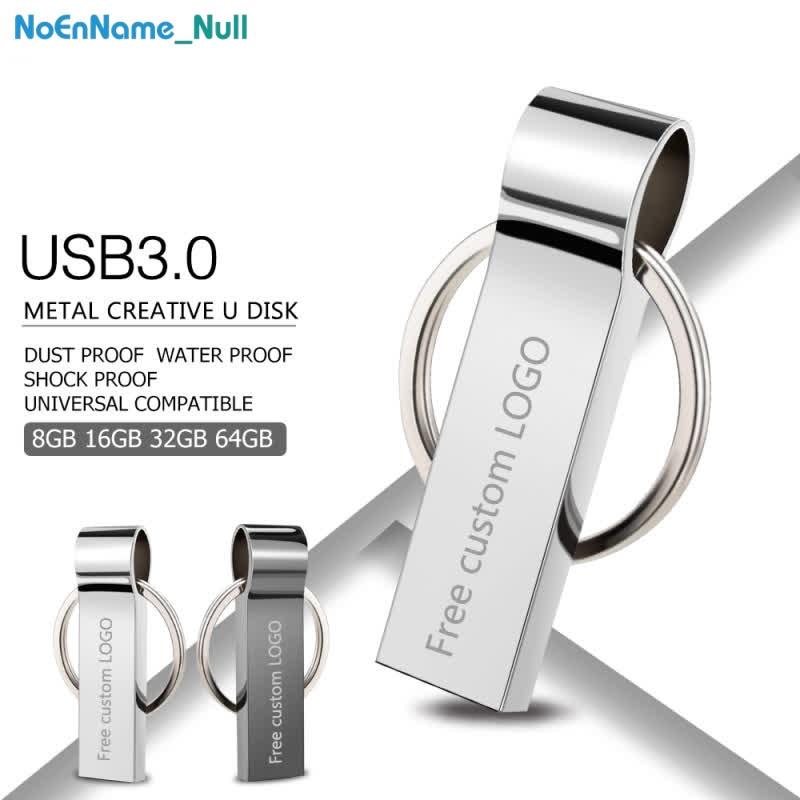 Usb Flash Drive 3.0 Silver Metal Pendrive 128GB 64GB 32GB 16GB 8GB 4GB Memoria Flash Pendrive Memory Usb Bracelet Key Free LOGO
