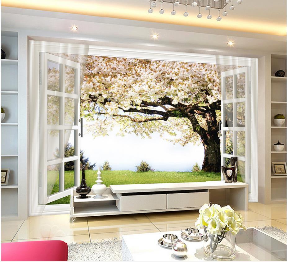 3d Wallpaper For Room Sakura Tree Window 3D Background