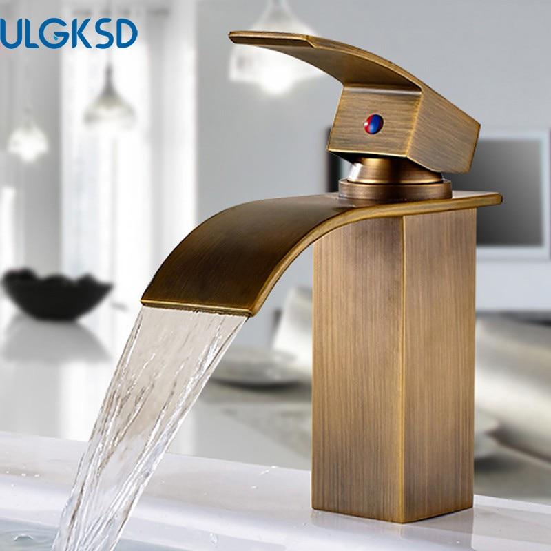 ULGKSD Antique Brass Bathroom Faucet Waterfall Outlet Basin Sink Faucet Tub Filer Faucet Mixer Tap Bathroom Accessory