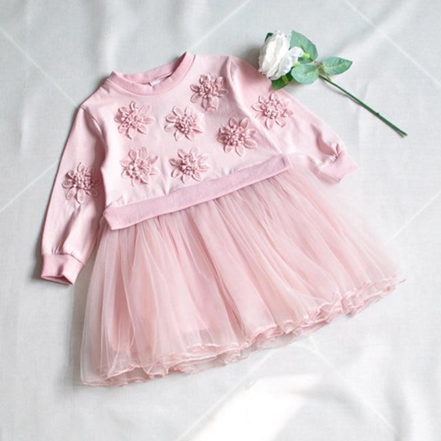 4b1e5040e51d New Spring Autumn Cute Lace Flower Girls Voile Princess Dress Floral ...