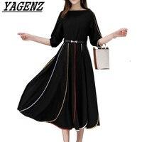 2018 New Summer Women Dress High grade Brand Clothing Elegant Slim Temperament Chiffon Dress Plus Size 5XL Ladies Black Dress