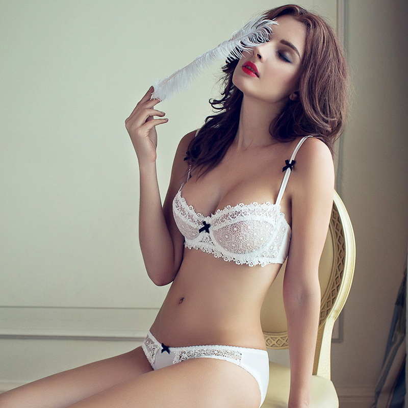 efe0e9abce4c1 victo s sexy lace ultra thin bra briefs set sexy woman summer underware  transparent half cup bowknot