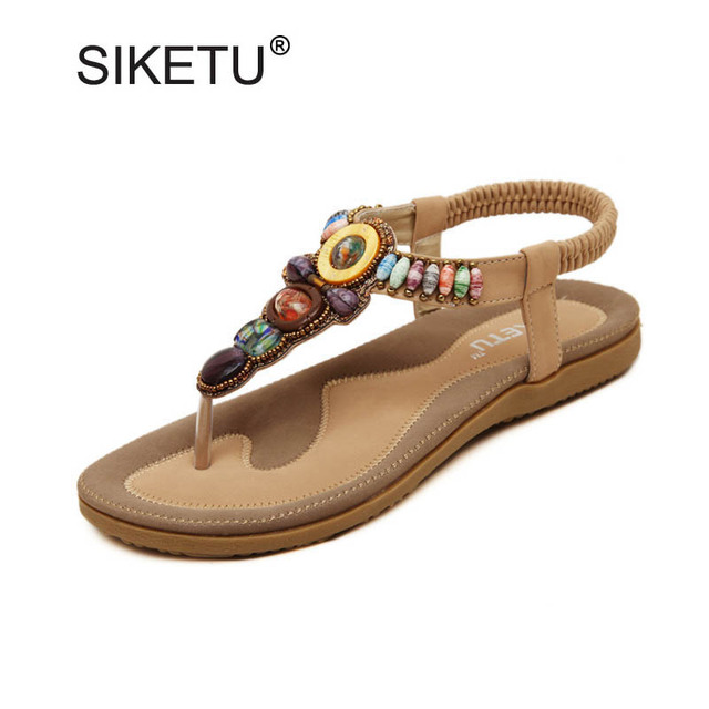 New Fashion Ethnic String Beaded Gladiator Sandals For Women Plus Size 35-45  Ladies Casual Shoes Flat Beach Sandals Flip Flops d897e36acc54