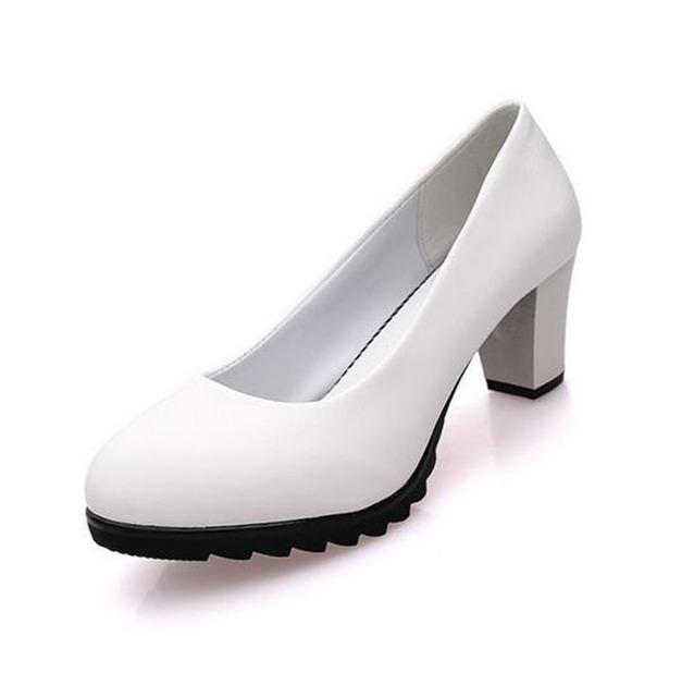 [Clásico] 2017 la Primavera Y El Otoño Femeninos de Charol Talones Cuadrados Zapatos de Cuero Negro Del Dedo Del Pie Redondo antideslizante bombas. LSS-319