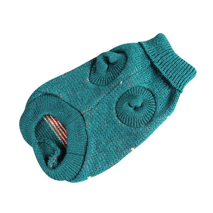 Designer clothes cheap Jacquard Knitted Dog Vest Dark Green Turtleneck Puppy Sweater Rhombus Pattern Pet Dogs Vests Coat Clothes