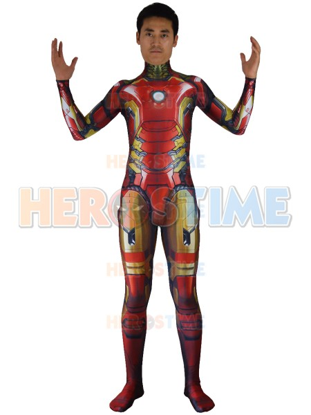Iron Man Armored Cosplay Costume 3D Printed Lycra Spandex Zentai Halloween Bodysuit for Adults Kids