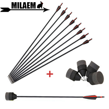 Flecha de fibra de vidrio con arco, 6/12 Uds., con esponja suave, punta de flecha Spine500 CS, accesorios para tiro al aire libre
