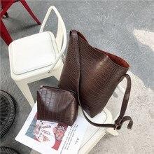 Vintage Fashion Female Tote bag New Quality PU Leather Womens Designer Handbag Alligator Bucket bag Shoulder Messenger Bag