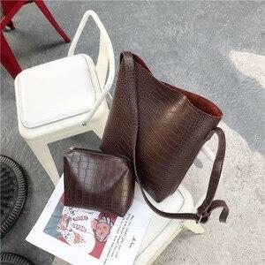 Image 1 - Vintage Fashion Female Tote bag New Quality PU Leather Womens Designer Handbag Alligator Bucket bag Shoulder Messenger Bag