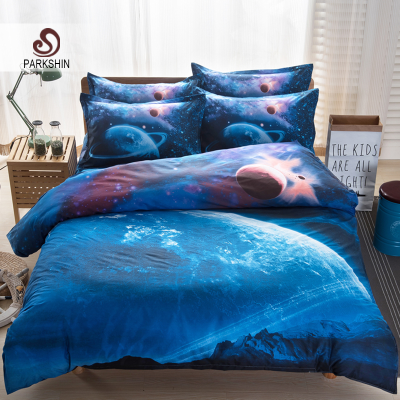 New galaxy bed cover universe outer space bedding set twin for Outer space bedding