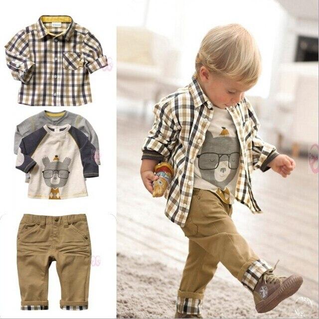 2016 novos meninos de Design estilo europeu 3 Pcs conjunto de roupas de marca menino xadrez camisa dos desenhos animados t ternos com solto calças de brim macias, C018