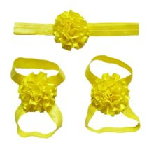 3 pieces a set Cute Baby Girls Toddler Flower Hairband headband Flower Barefoot Sandal / Shoes Set Children Accessories Yellow(China)