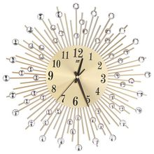 ساعة حائط مزينة بالماس ساعة مستديرة معدنية ديكور غرفة المعيشة ساعات الكوارتز الهادئة ساعات الحائط الحديثة الحد الأدنى