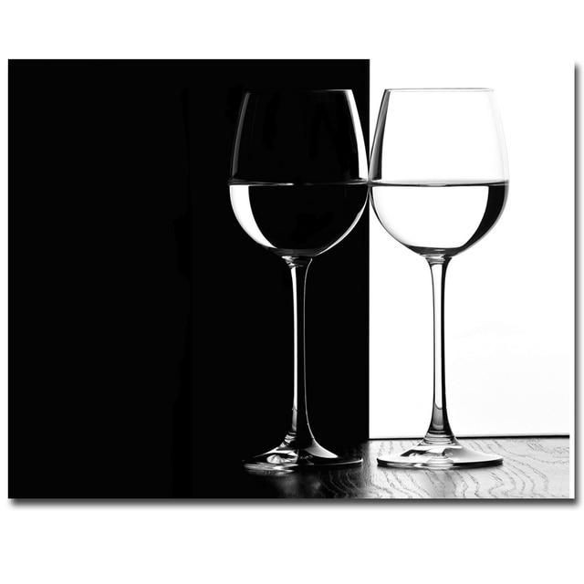 De rode wijn glas schilderen gedrukt Moderne Abstracte Bloem ...
