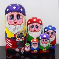7pcs/set Wooden Russian Nesting Dolls Traditional Matryoshka Dolls Cartoon Status Claus Style Dolls Christmas Gifts