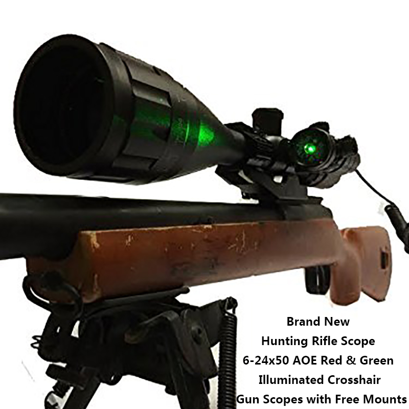 Brand New Hunting Rifle Scope 6-24x50 AOE Red & Green Illuminated Crosshair Gun Scopes with Free Mounts vector optics warrior 6 24x50 aoe hunting rifle scope 1 inch monotube with r14 range finder reticle whole red green illuminated