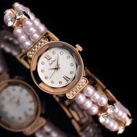 Top Julius Lady Women S Wrist Watch Elastic Pearl Fashion Hours Dress Bracelet Business Girl Cute