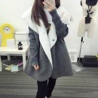 Fleece Cardigans Women Autumn Winter Warm Thicken Women Wool Blends Coat Long Loose Casual Hooded Imitation