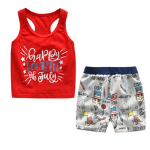 Suit For The Boy Red Letter Vest Cartoon Short Pants Two Piece Set Summer2 3 4 5 6Year Kids Clothing Set Boy A Sports Suit цены