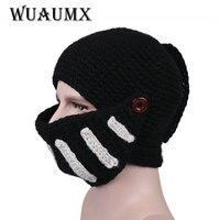 Wuaumx冬フェイスマスクビーニー帽子男