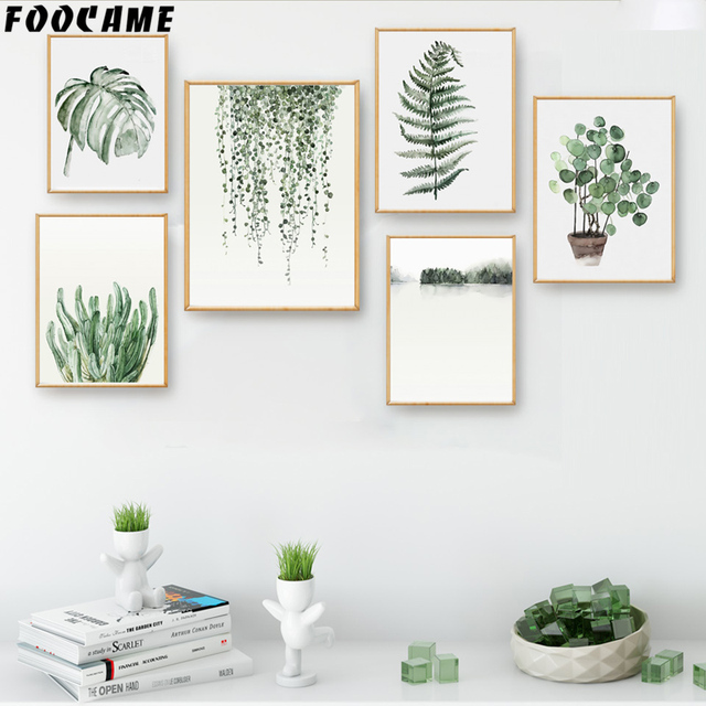 Watercolor Green Plants Monstera Nature Posters And Prints: FOOCAME Watercolor Plant Leaves Monstera Cactus Posters