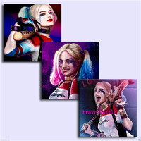Justice League Harley Quinn 3 Pieces Canvas Painting Print Living Room Home Decor Modern Wall Art Oil Painting