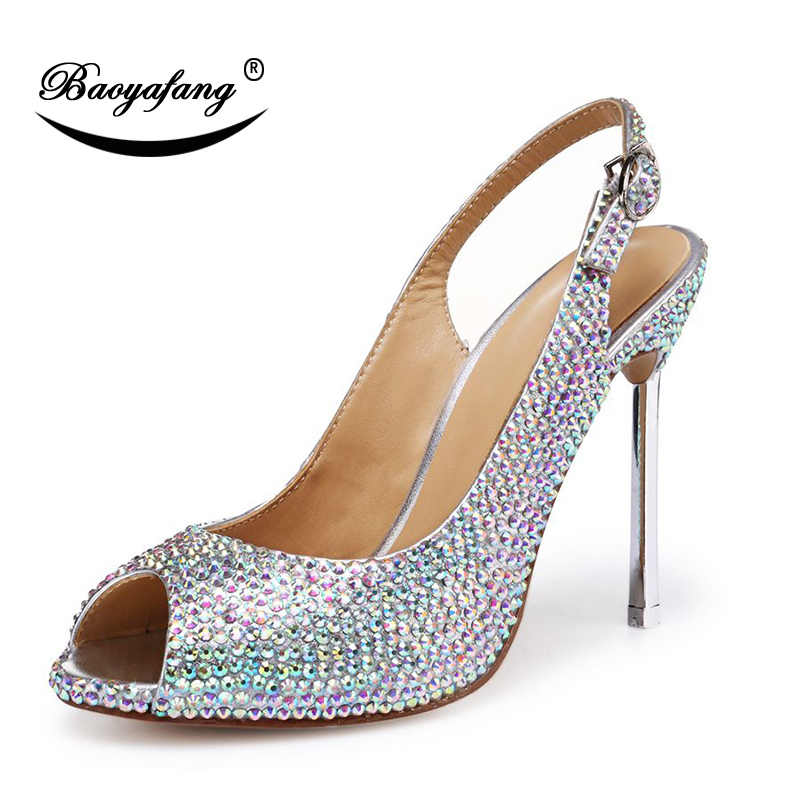 BaoYaFang New Arrival Metal Heel Wedding shoes Woman crystal Pointed Toe Party dress shoes High shoes Open Toe Womens Pumps new arrival multi ab color wedding shoes women s pumps luxury crystal shoes pointed toe square heel sheepskin real leather shoes