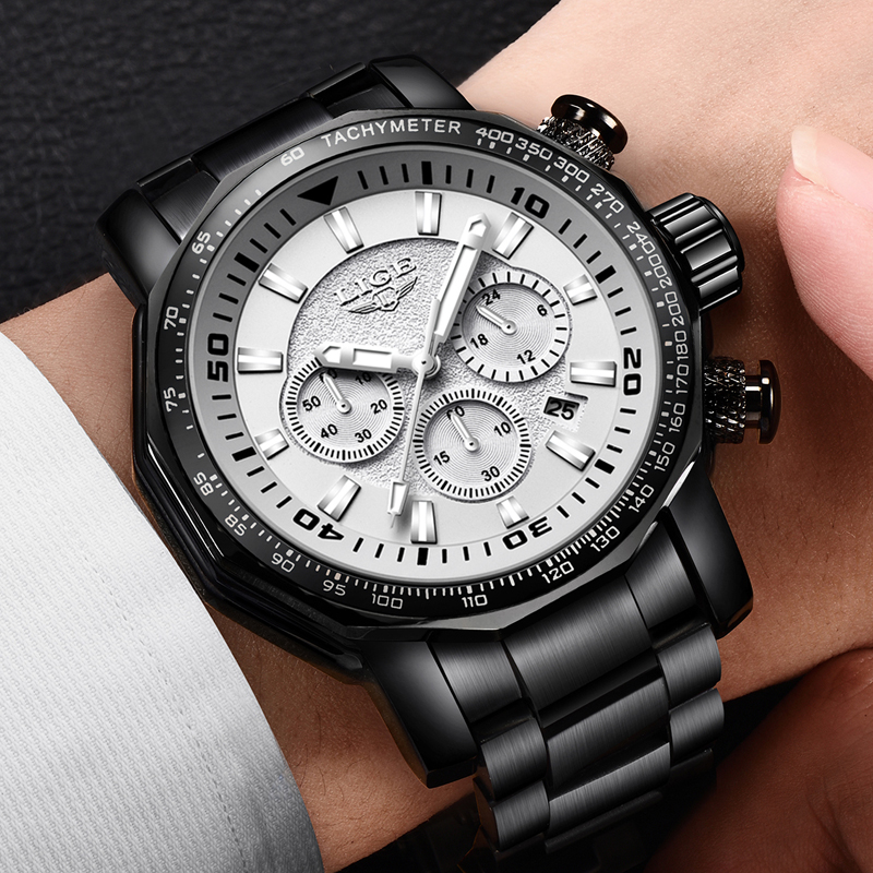 LIGE Watch Men 2018 Fashion Sport Quartz Big Dial Clock Top Brand Luxury Waterproof All Steel Military Watches Relogio Masculino