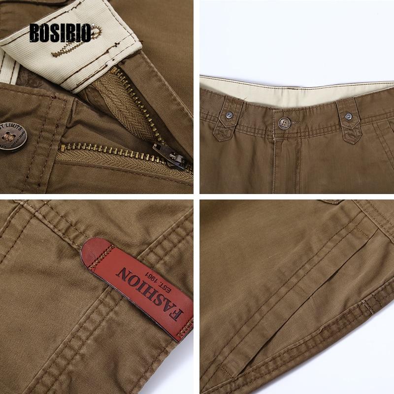 2017 Бренд моды для мужчин Военные брюки-Карго плюс размер 30-46 свободные серый хлопок khaki твердые нескольких карман брюк полная длина 16880
