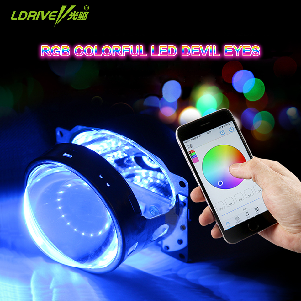 LDRIVE 2PC 12V 6colors APP control Car Headlight HID projector lens Demon Devil Eye Angel eyes 12LED Halo Rings Universal sinolyn 3 0 super hid bixenon lenses headlight car projector lens square u led angel eyes halo daytime running lights headlamp