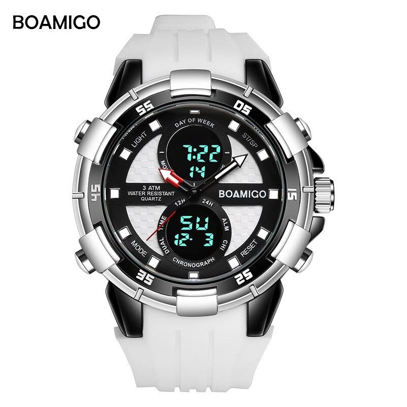 Мужские спортивные часы бренд вoamigo Мужские кварцевые цифровые наручные часы мужские резиновые белые часы Relogios Masculino Reloj Hombre