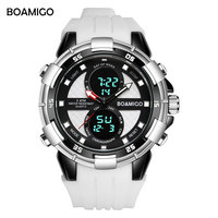 גברים ספורט שעונים שעוני יד דיגיטליות קוורץ זכר שעון גבר מותג BOAMIGO Masculino Reloj Hombre Relogios שעון גומי לבן