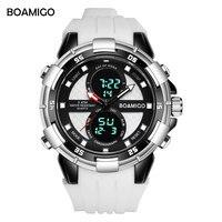 Men Sports Watches BOAMIGO Brand New Dual Display Watches Quality Analog Digital Wristwatch Rubber Quartz Waterproof