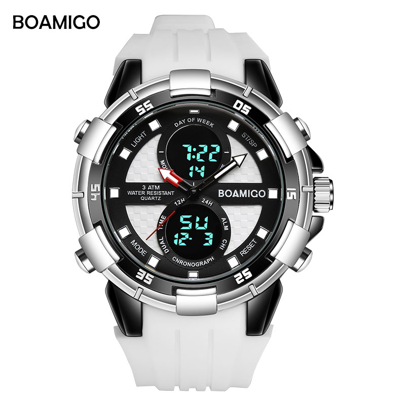 Men Sports Watches BOAMIGO Brand Man Watch Quartz Digital Wristwatches male Rubber white Clock  Relogios Masculino Reloj Hombre Men Sports Watches BOAMIGO Brand Man Watch Quartz Digital Wristwatches male Rubber white Clock  Relogios Masculino Reloj Hombre